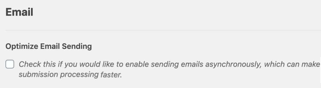 Optimize Email Sending Setting in WPForms