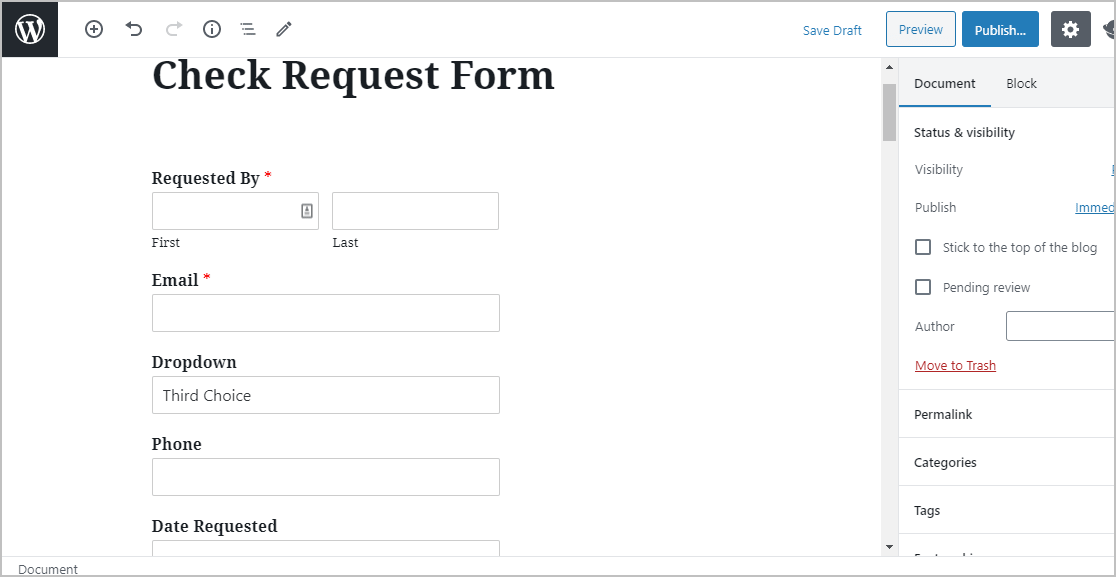 Place Check Request Form