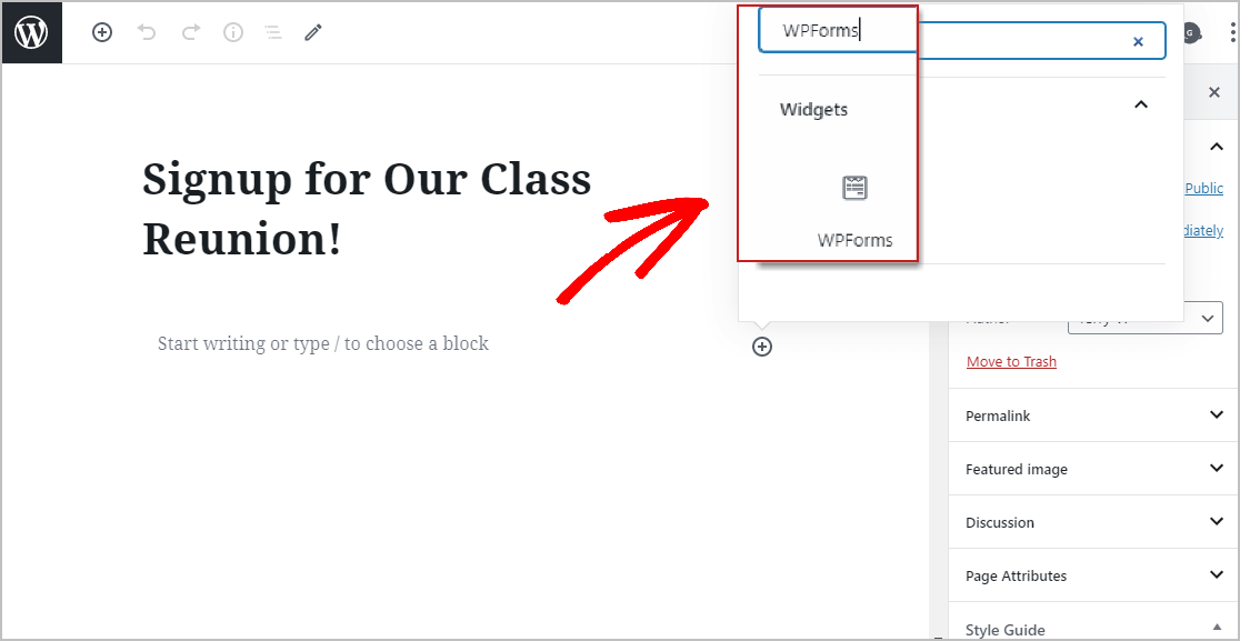 Placing Class Reunion Form on WordPress Page