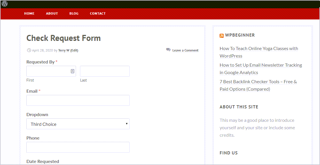Preview Check Request Form