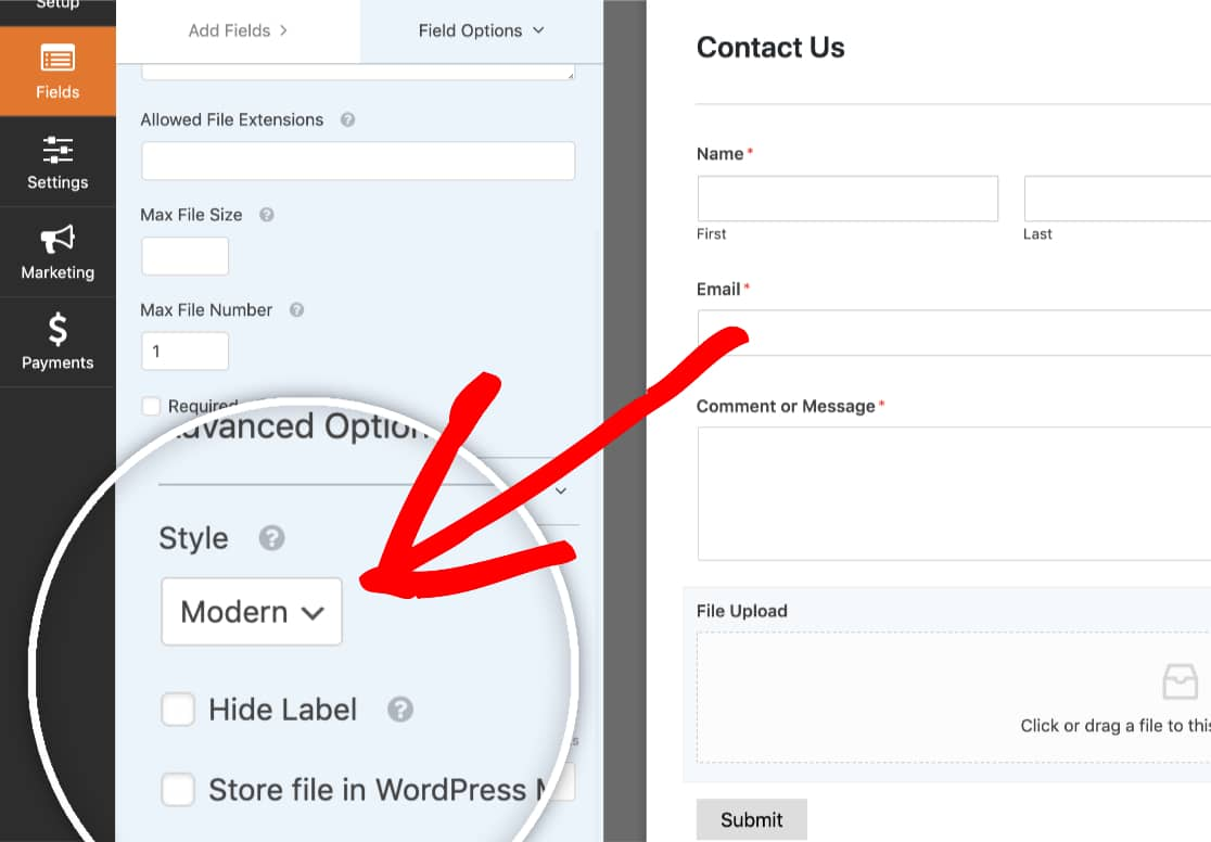 Select the Modern Style for WPForms File Upload field