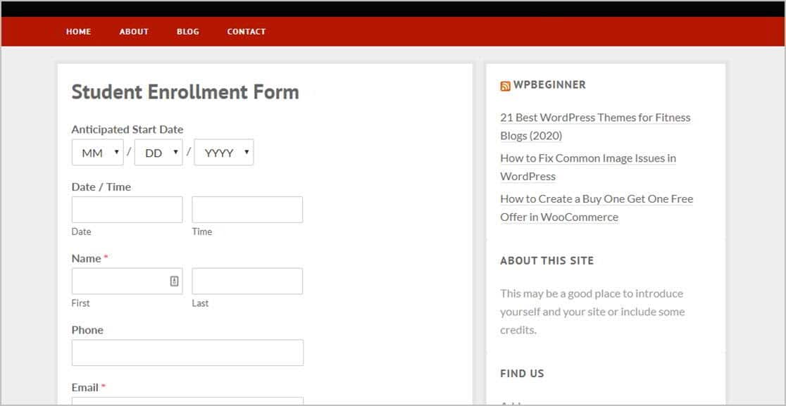 Form On Page
