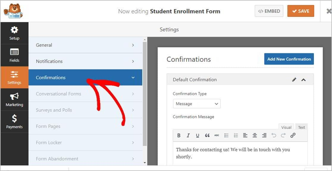 Forms Confirmation