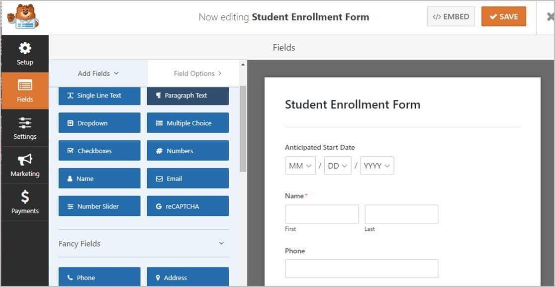 Student Enrollment Template Fields