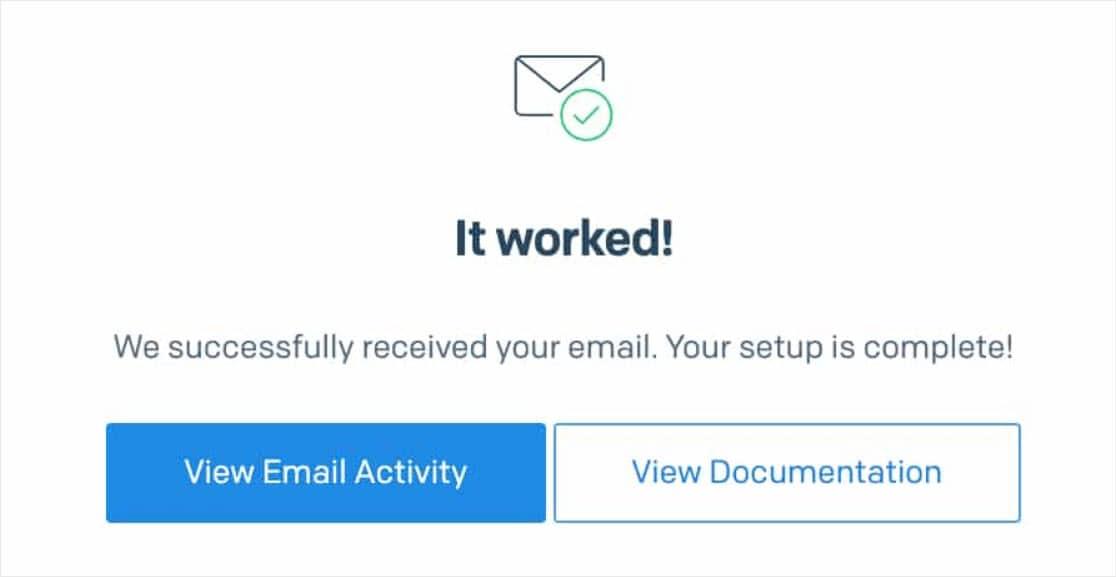 Success message SendGrid integration verification