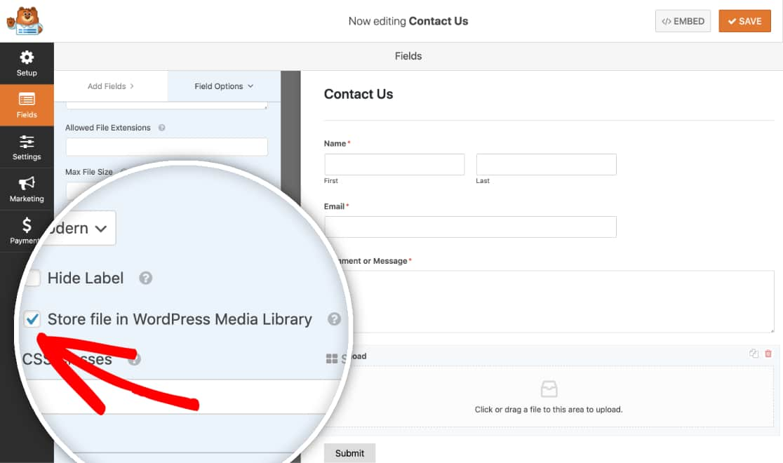 Upload image to WordPress Media Library