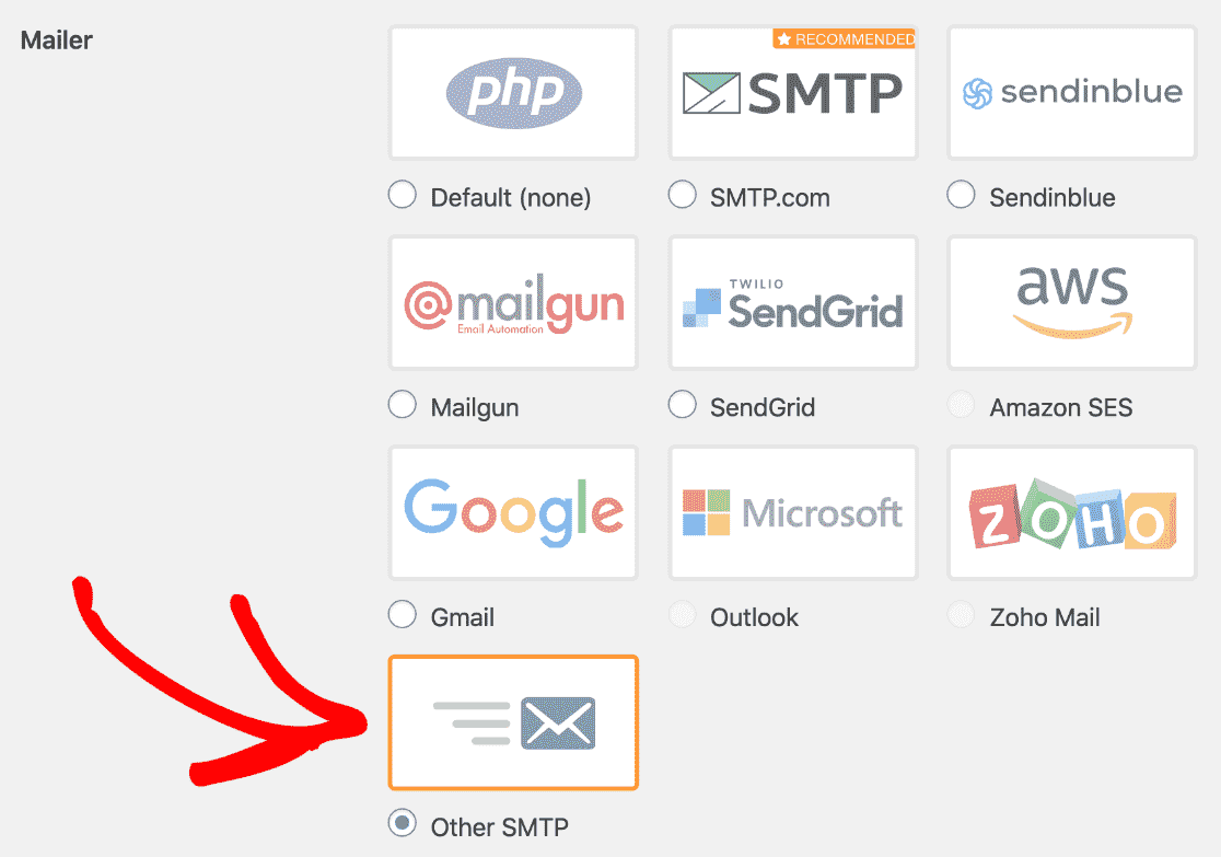 WP Mail SMTP mailers with Other SMTP selected