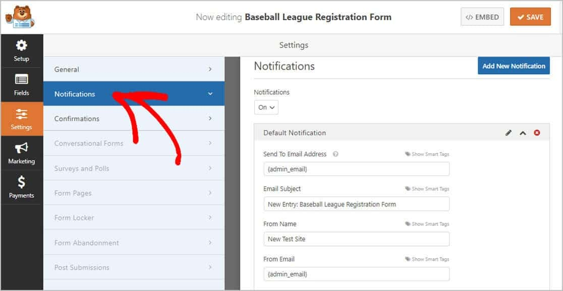 Example Form Notifications