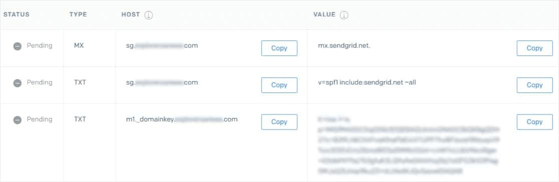 add DNS records to SendGrid area