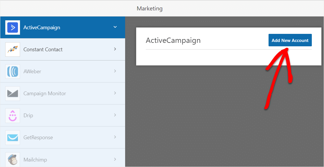 add new account to activecampaign form in wordpress