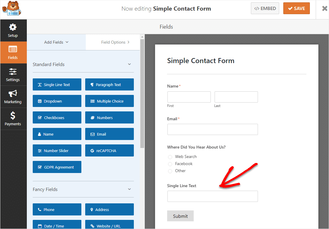 add single line text field to create conditional logic form