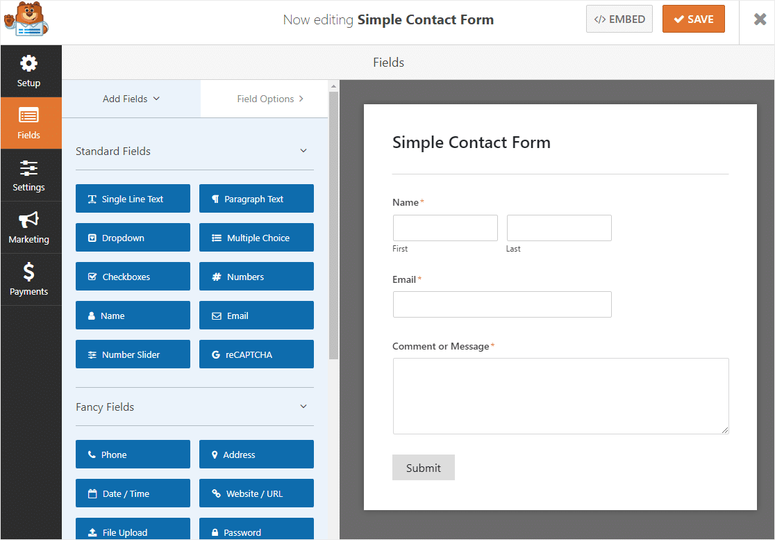 basic form before enabling conversational contact form