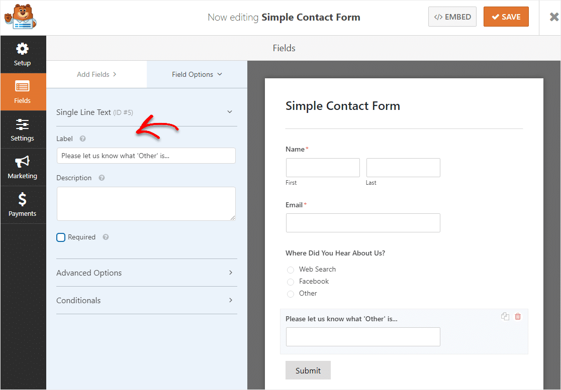 change field label wpforms
