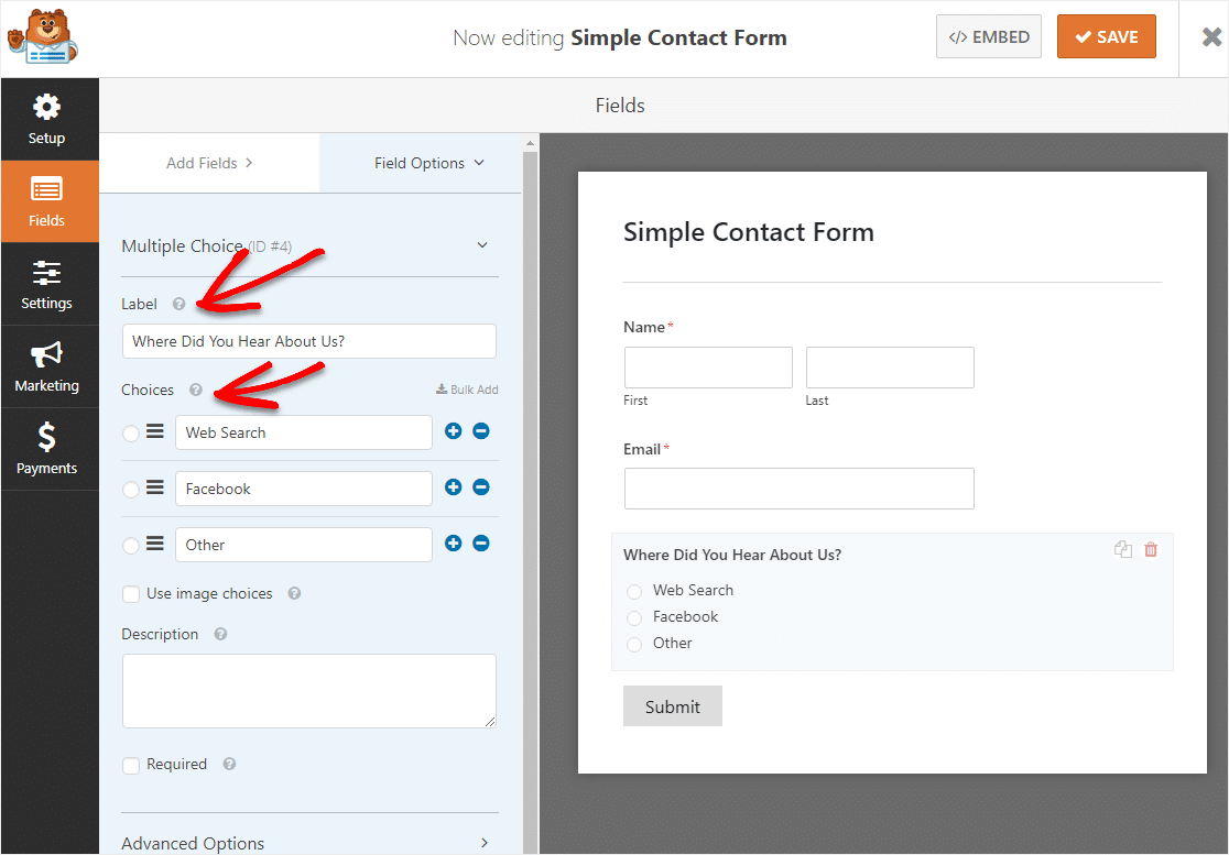 change label on multiple choice field for conditional logic form