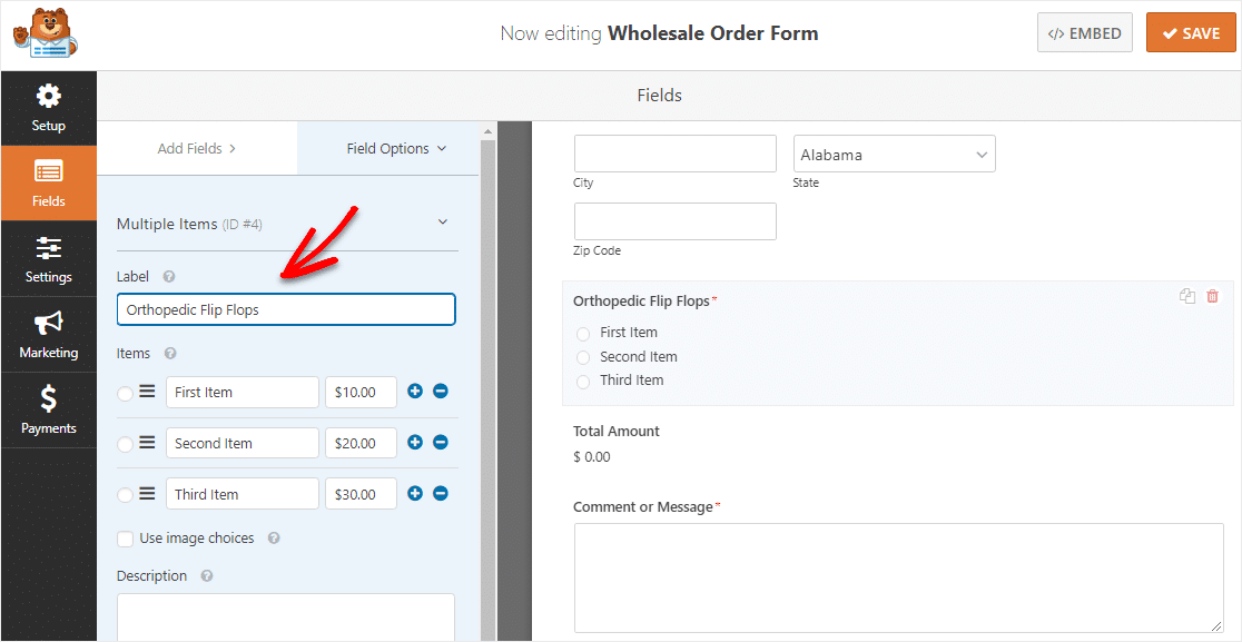 change wholesale order form multiple item label