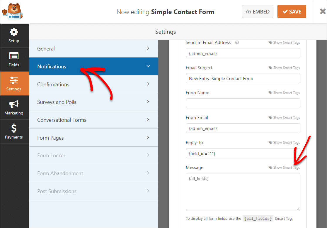 choose message field in notification settings for wpforms hidden field