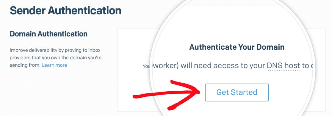 click get started authenticate sendgrid domain