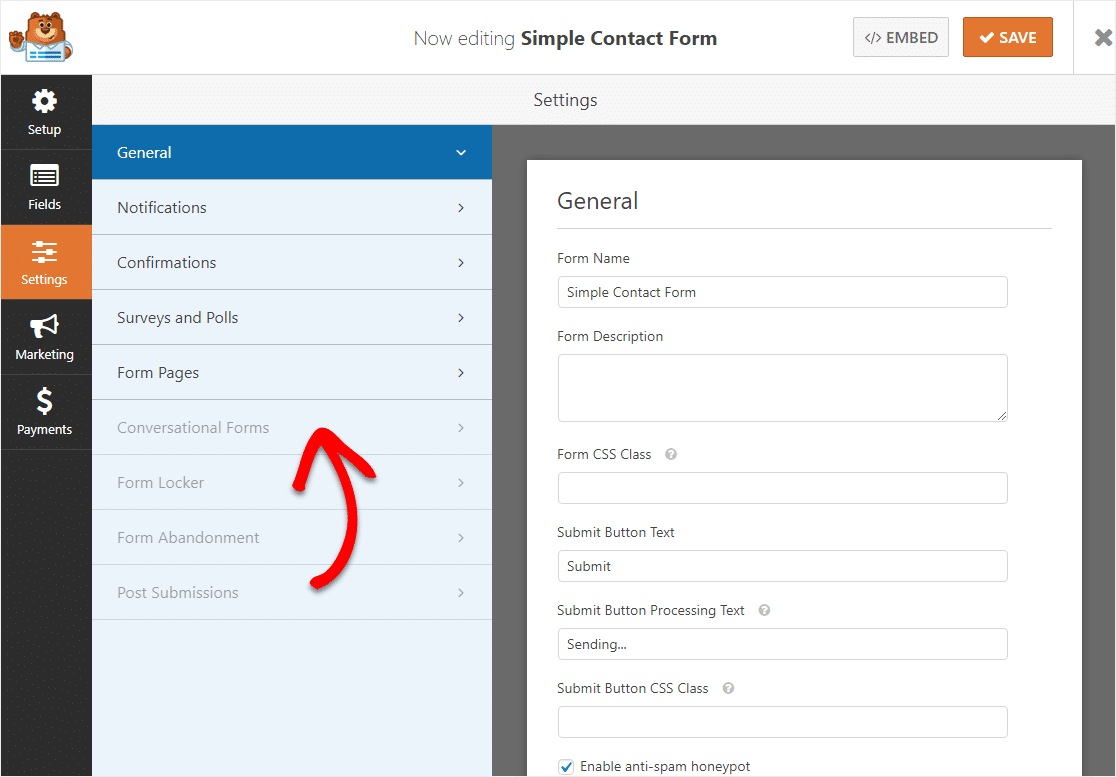 click on conversational forms