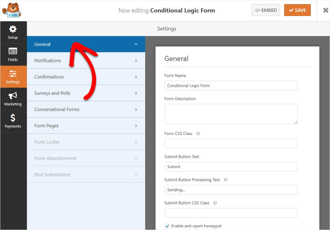 conditional logic form settings