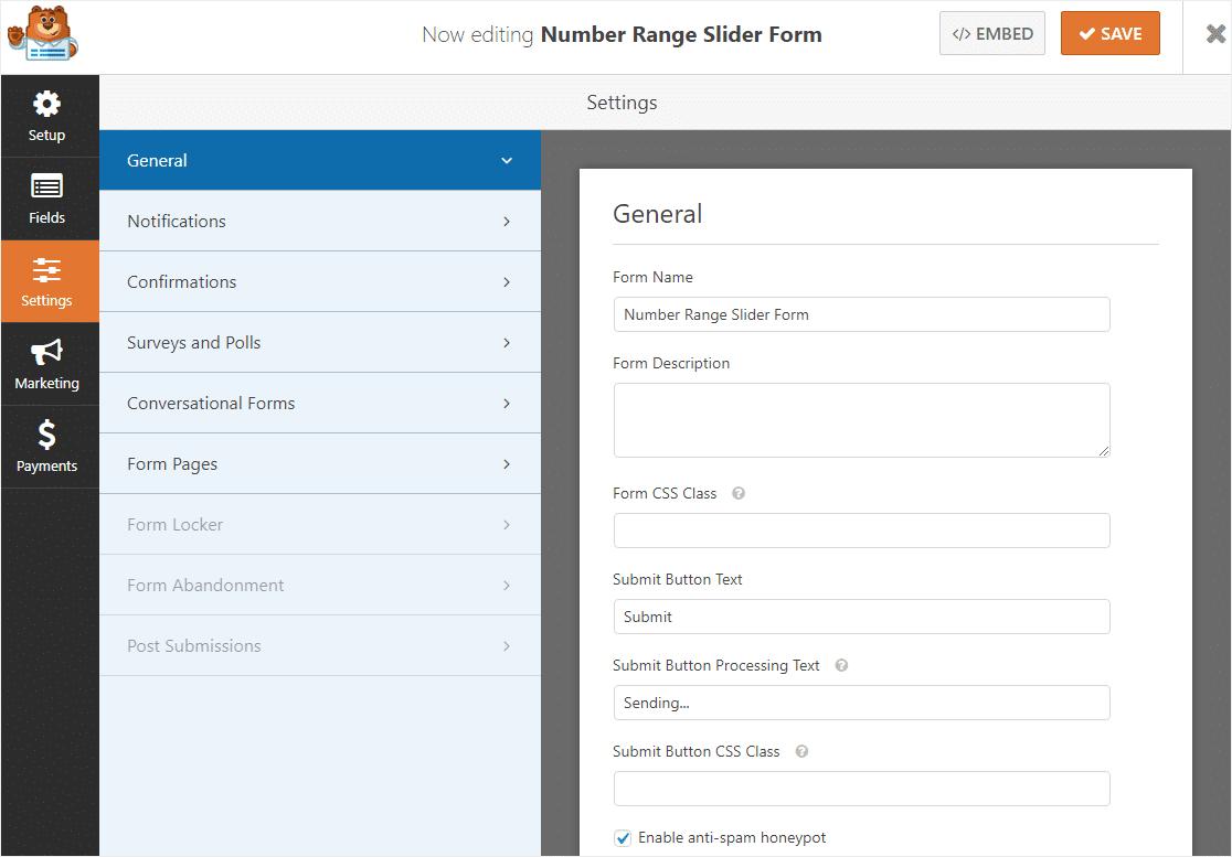 customize form settings