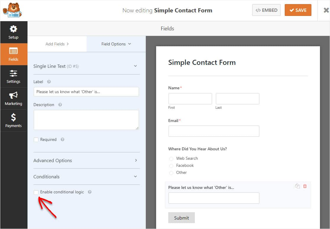 enable conditional logic on form