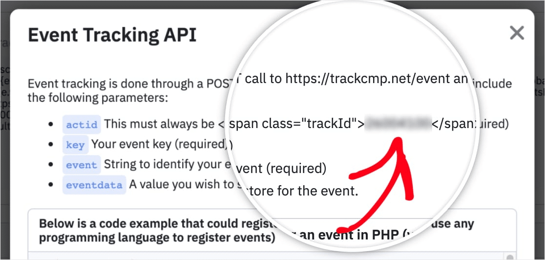 event tracking api in activecampaign form