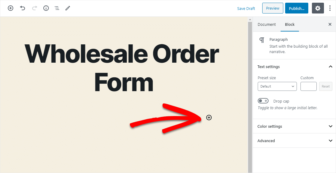 how to add form with plus icon
