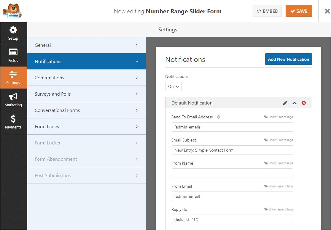 number range slider form notifications