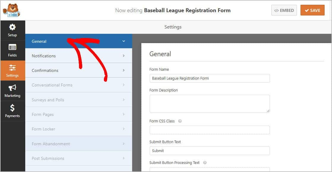 online youth sports registration settings