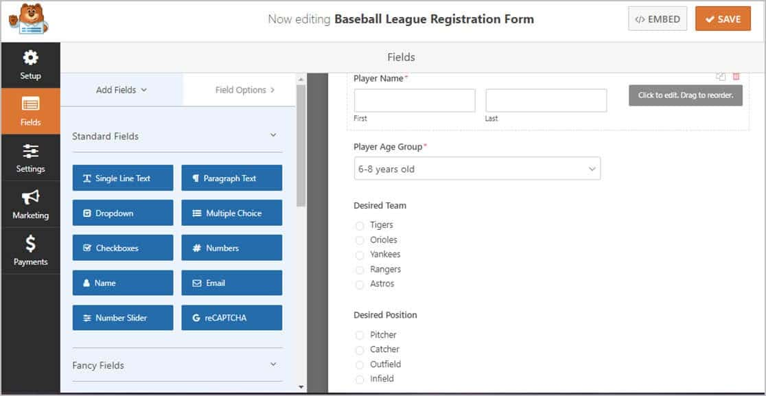 online youth sports template fields