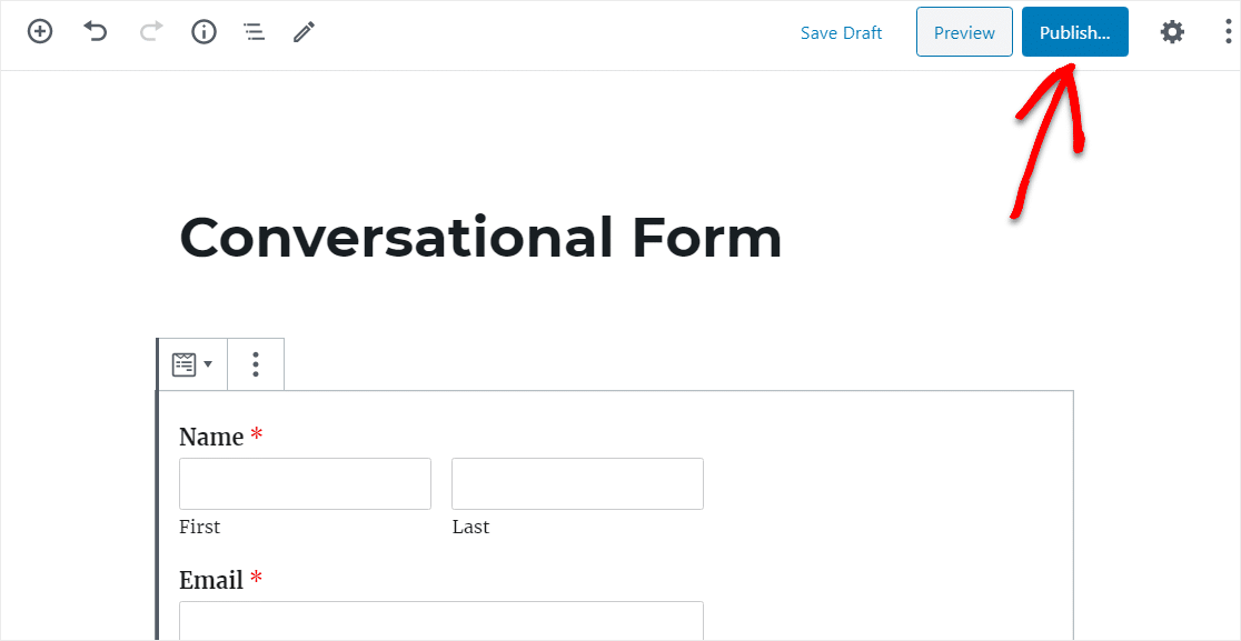 publish conversational contact form