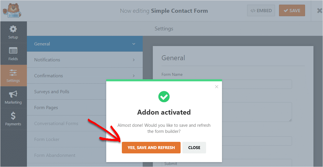 save and refresh after conversational contact form addon is activated