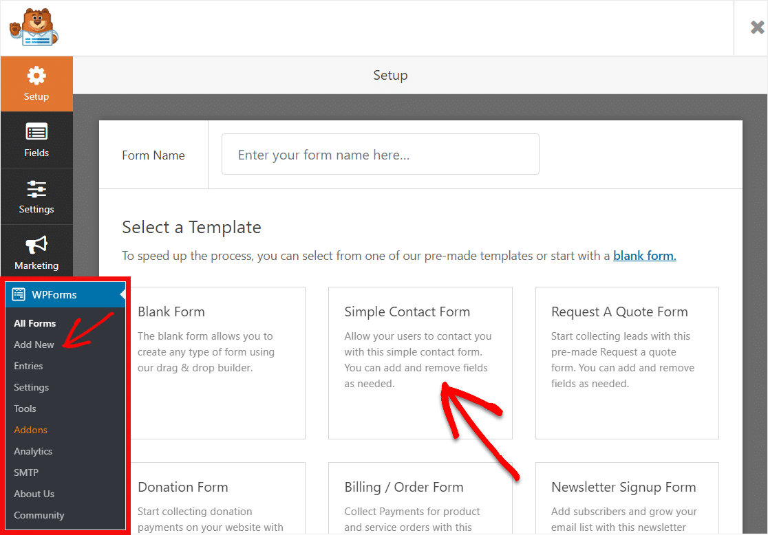 select simple contact form template to create range slider