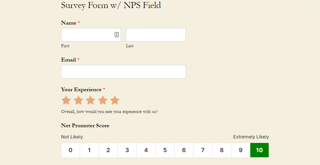 survey form with nps field