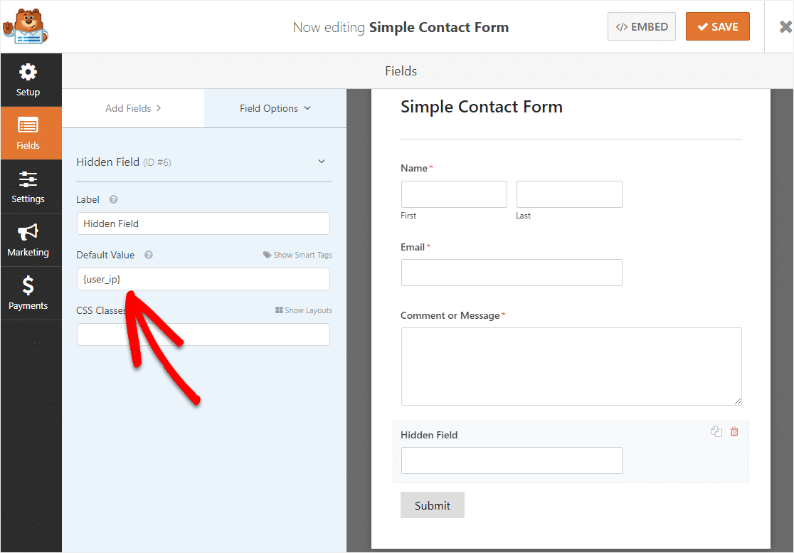 user ip in wpforms hidden field