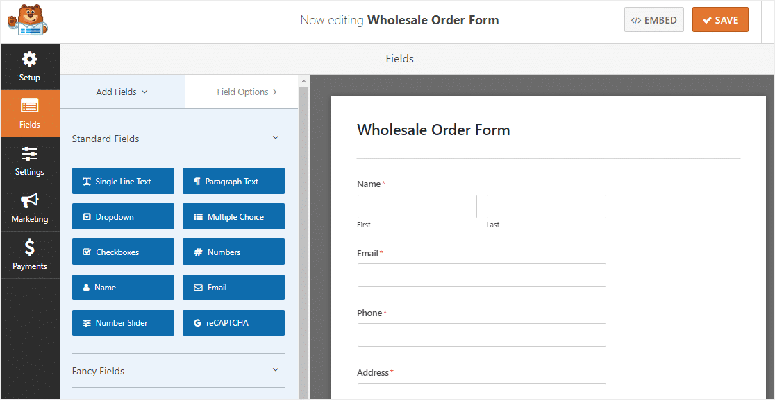 wholesale order form template instead of woocommerce