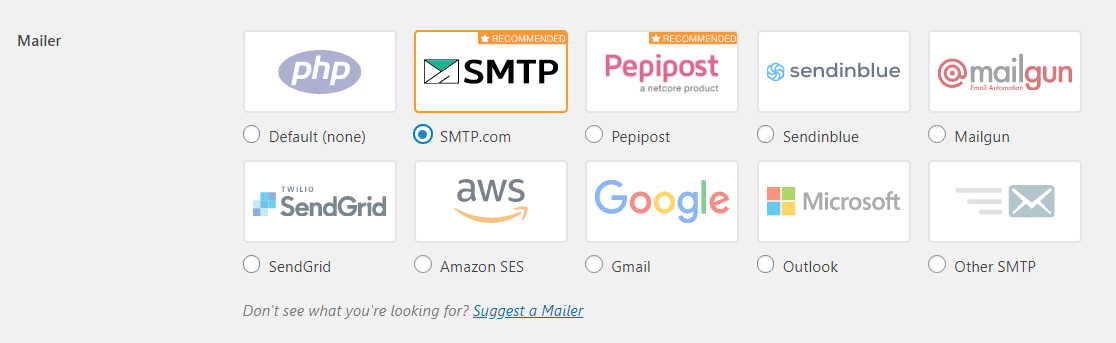 wp mail smtp mailer options