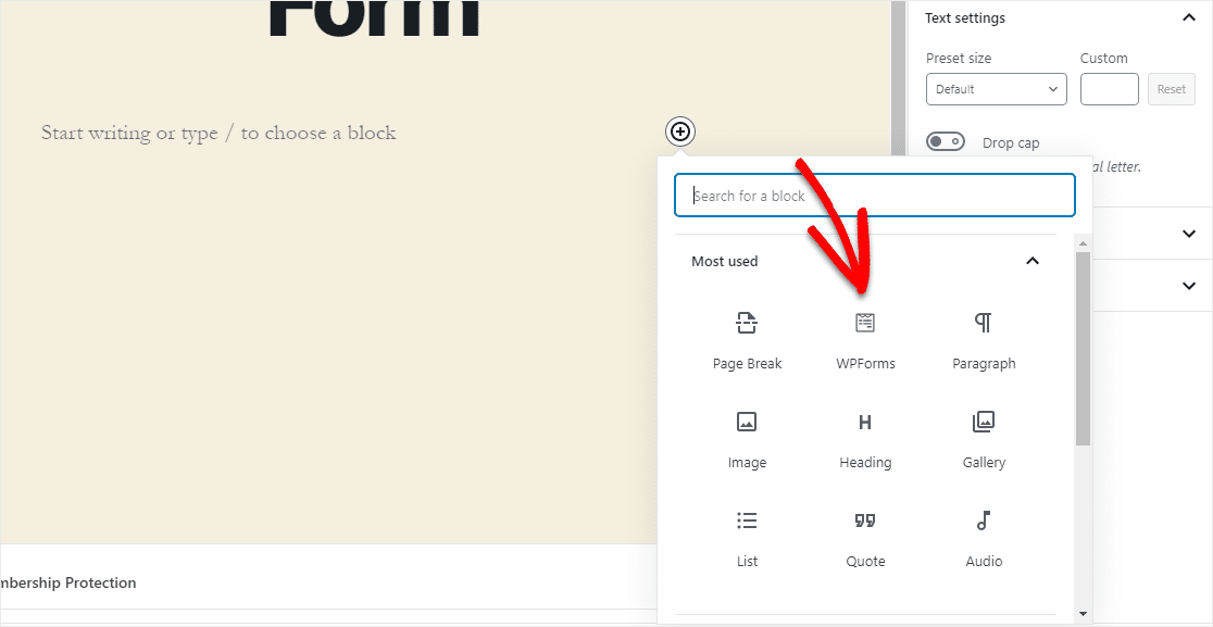 wpforms icon in gutenberg