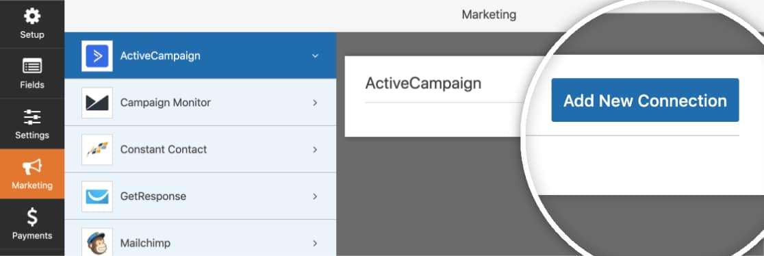 Open Marketing tab and click Add New Connection button