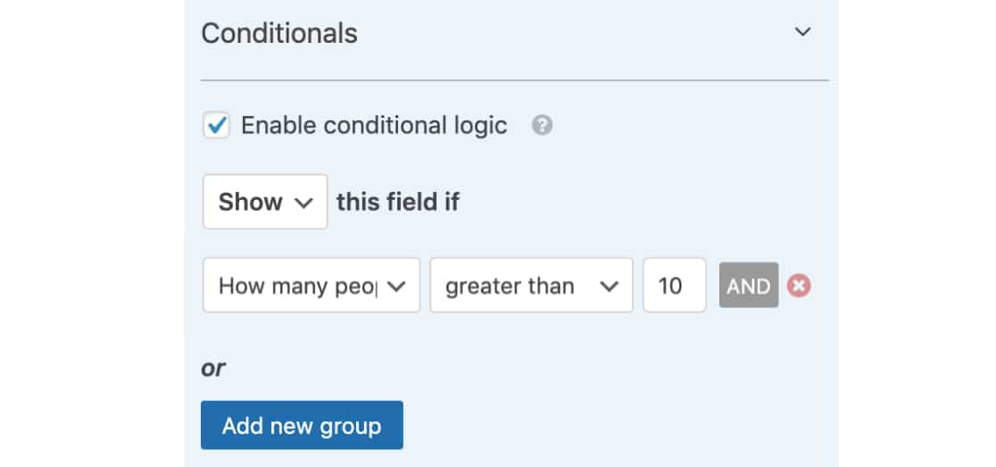 Conditional Logic for Number Slider field in WPForms