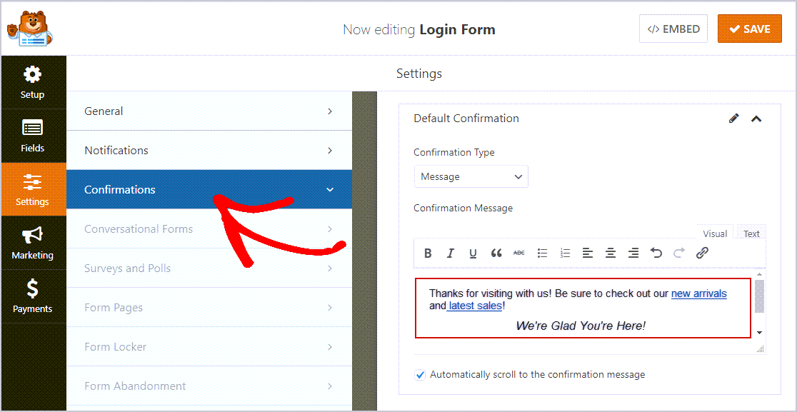 Confirmation Login Form Settings with text
