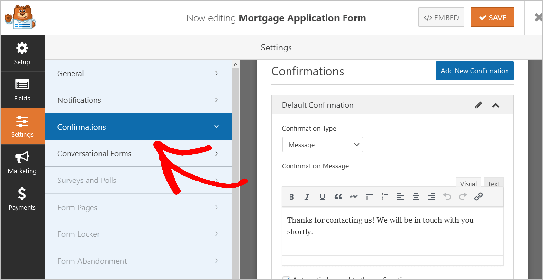 Confirmations Mortgage Form