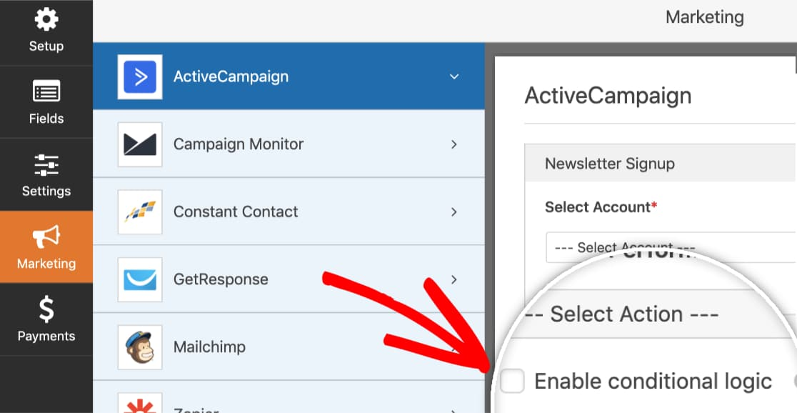 Enable conditional logic for ActiveCampaign addon in WPForms