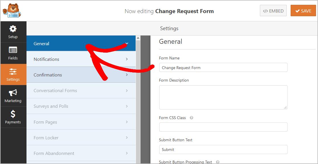 General Change Form