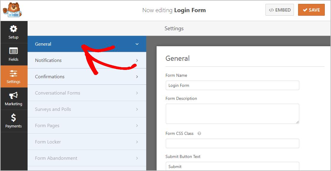 General Login Form