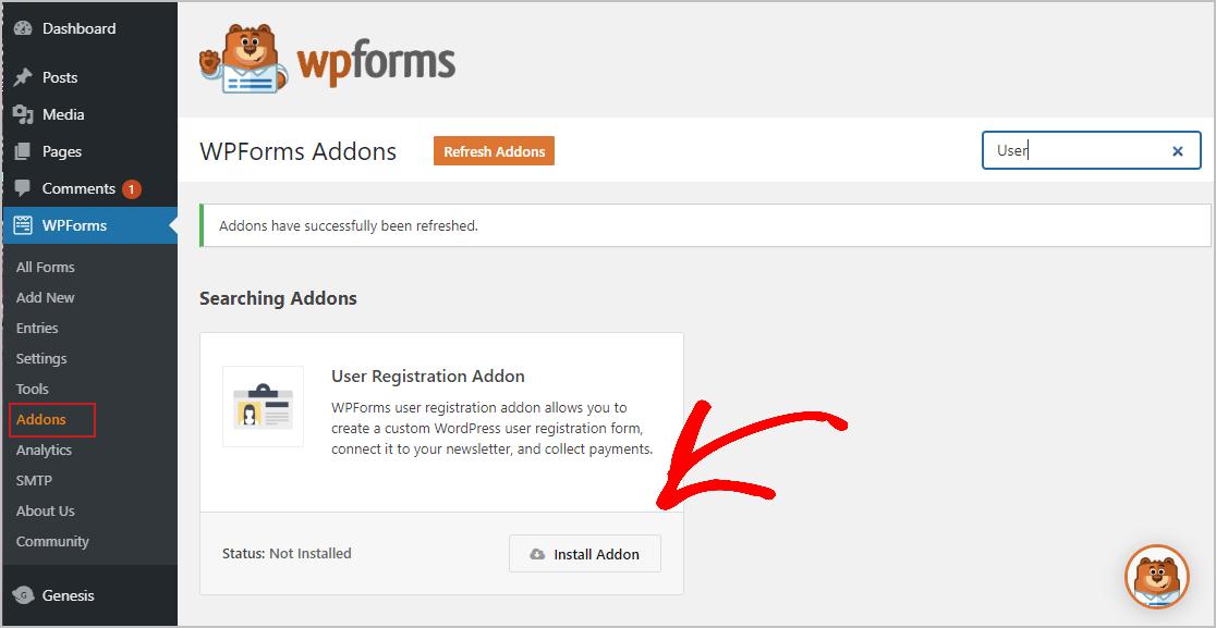 Install User Registration Addon
