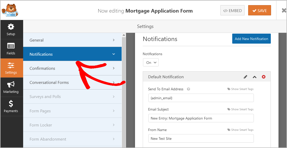 Notifications Mortgage Form