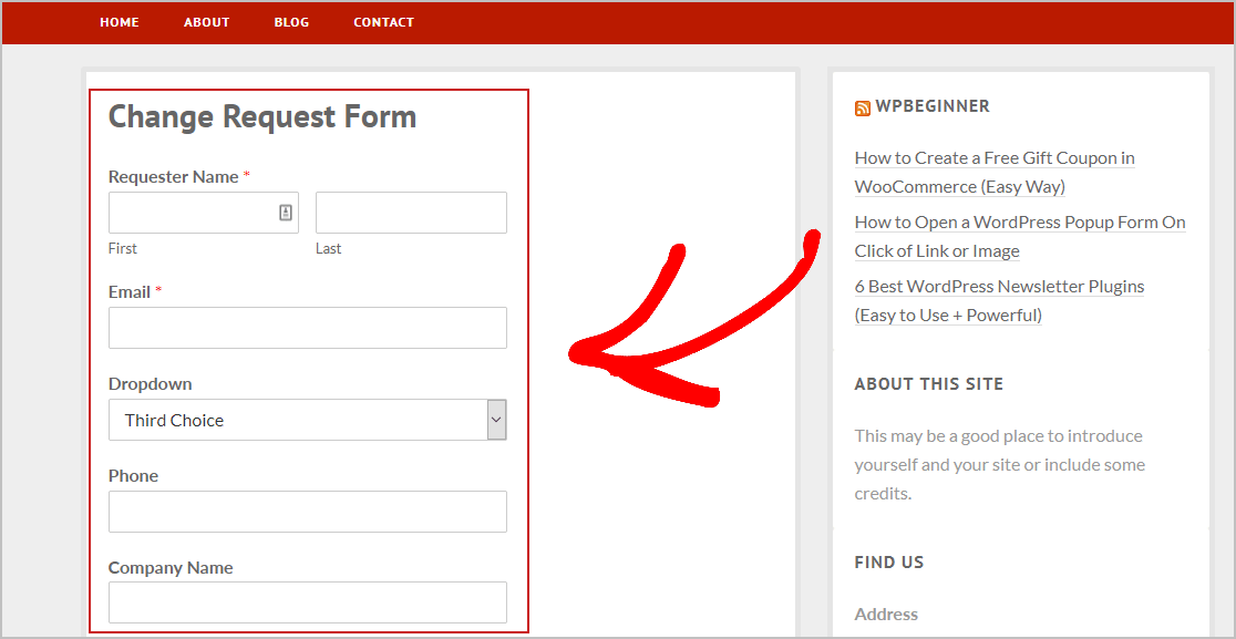 Preview Change Request Form