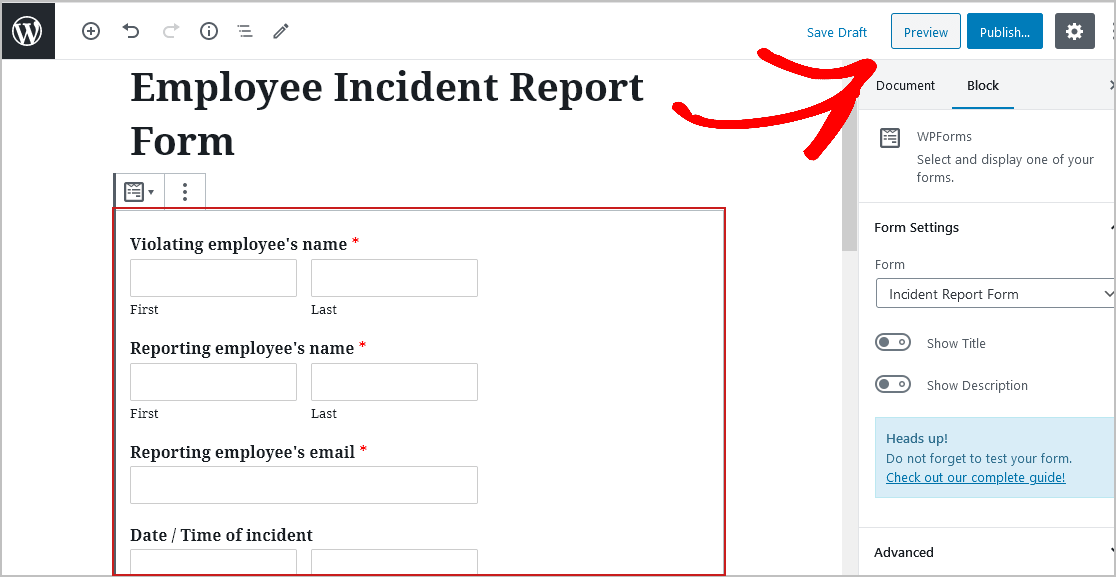 Preview Incident Reprot Form