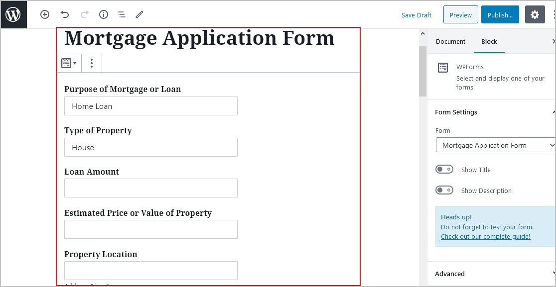 Preview Mortgage Form